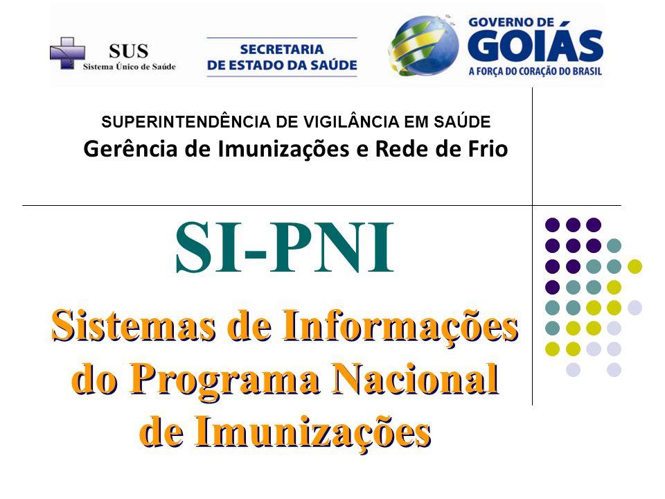 Sistemas de Informações do Programa Nacional de Imunizações SI-PNI Gerência de Imunizações e Rede de Frio SUPERINTENDÊNCIA DE VIGILÂNCIA EM SAÚDE