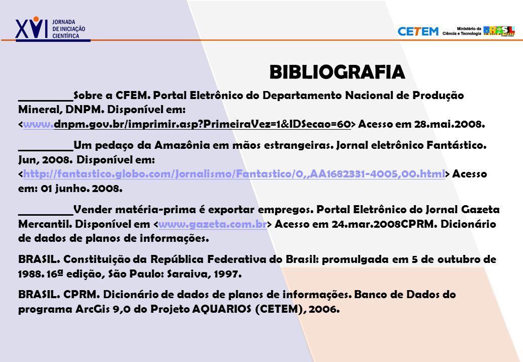 BIBLIOGRAFIA __________Sobre a CFEM. Portal Eletrônico do Departamento Nacional de Produção Mineral, DNPM. Disponível em: Acesso em 28.mai.2008.www. _