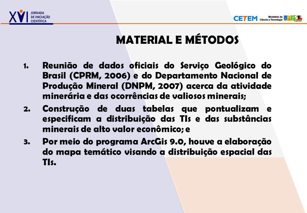 MATERIAL E MÉTODOS 1. Reunião de dados oficiais do Serviço Geológico do Brasil (CPRM, 2006) e do Departamento Nacional de Produção Mineral (DNPM, 2007