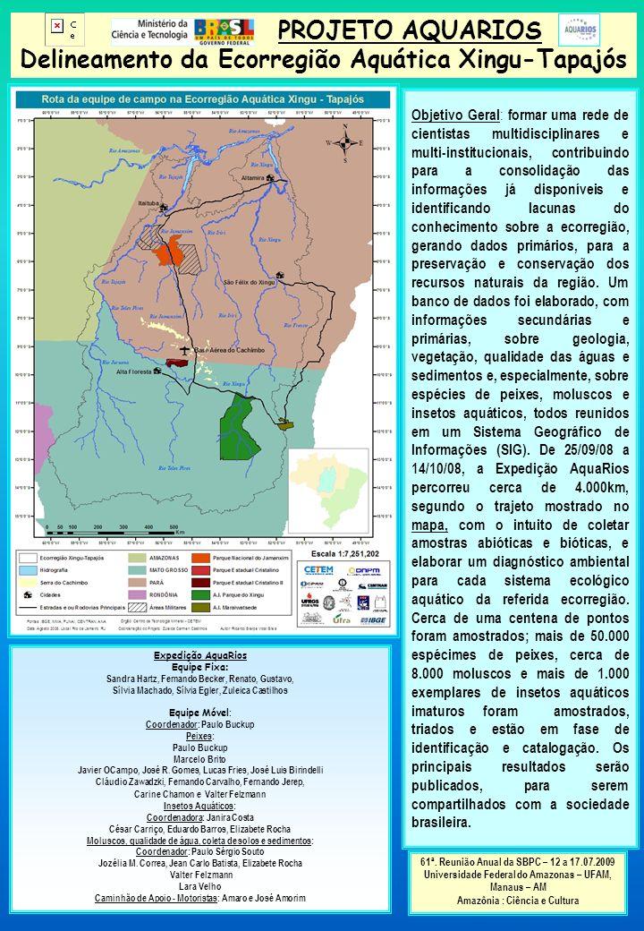 PROJETO AQUARIOS Delineamento da Ecorregião Aquática Xingu-Tapajós Objetivo Geral : formar uma rede de cientistas multidisciplinares e multi-instituci