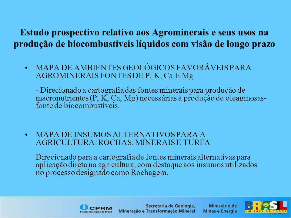 Estudo prospectivo relativo aos Agrominerais e seus usos na produção de biocombustiveis líquidos com visão de longo prazo MAPA DE AMBIENTES GEOLÓGICOS