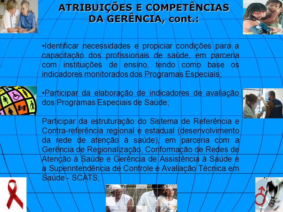 ATRIBUIÇÕES E COMPETÊNCIAS DA GERÊNCIA, cont.: Identificar necessidades e propiciar condições para a capacitação dos profissionais de saúde, em parcer