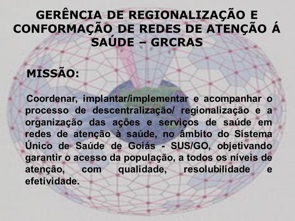 MISSÃO: Coordenar, implantar/implementar e acompanhar o processo de descentralização/ regionalização e a organização das ações e serviços de saúde em