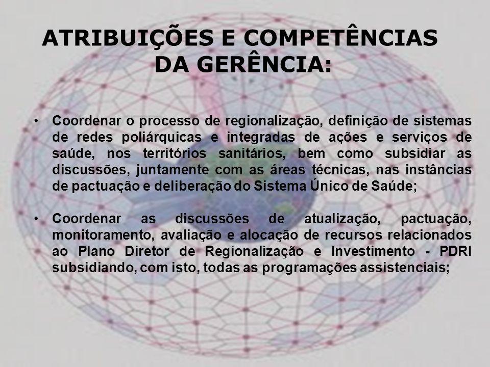 Coordenar o processo de regionalização, definição de sistemas de redes poliárquicas e integradas de ações e serviços de saúde, nos territórios sanitár