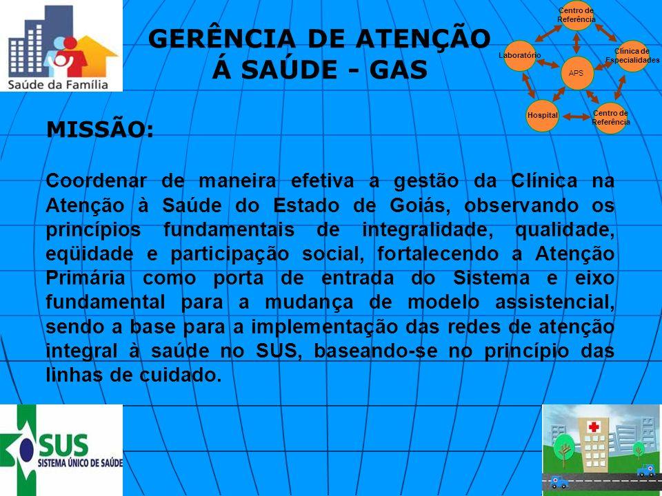 MISSÃO: Coordenar de maneira efetiva a gestão da Clínica na Atenção à Saúde do Estado de Goiás, observando os princípios fundamentais de integralidade
