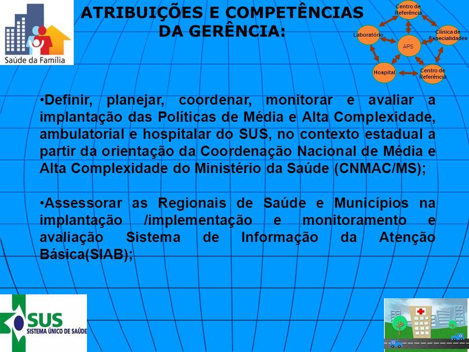 Definir, planejar, coordenar, monitorar e avaliar a implantação das Políticas de Média e Alta Complexidade, ambulatorial e hospitalar do SUS, no conte