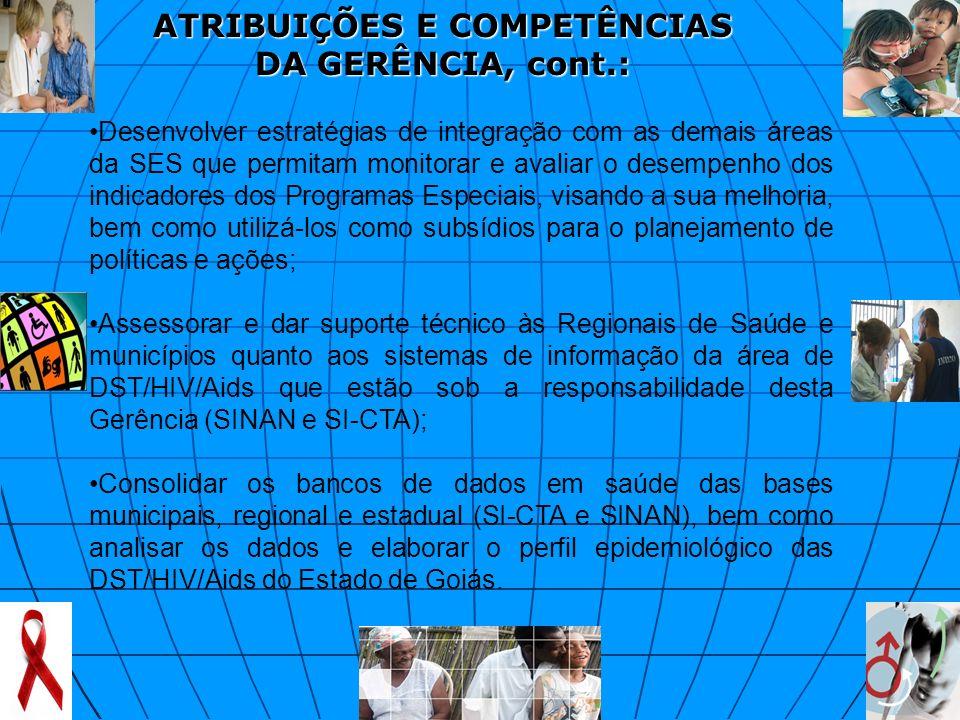 ATRIBUIÇÕES E COMPETÊNCIAS DA GERÊNCIA, cont.: Desenvolver estratégias de integração com as demais áreas da SES que permitam monitorar e avaliar o des