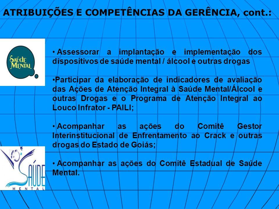 ATRIBUIÇÕES E COMPETÊNCIAS DA GERÊNCIA, cont.: Assessorar a implantação e implementação dos dispositivos de saúde mental / álcool e outras drogas Part