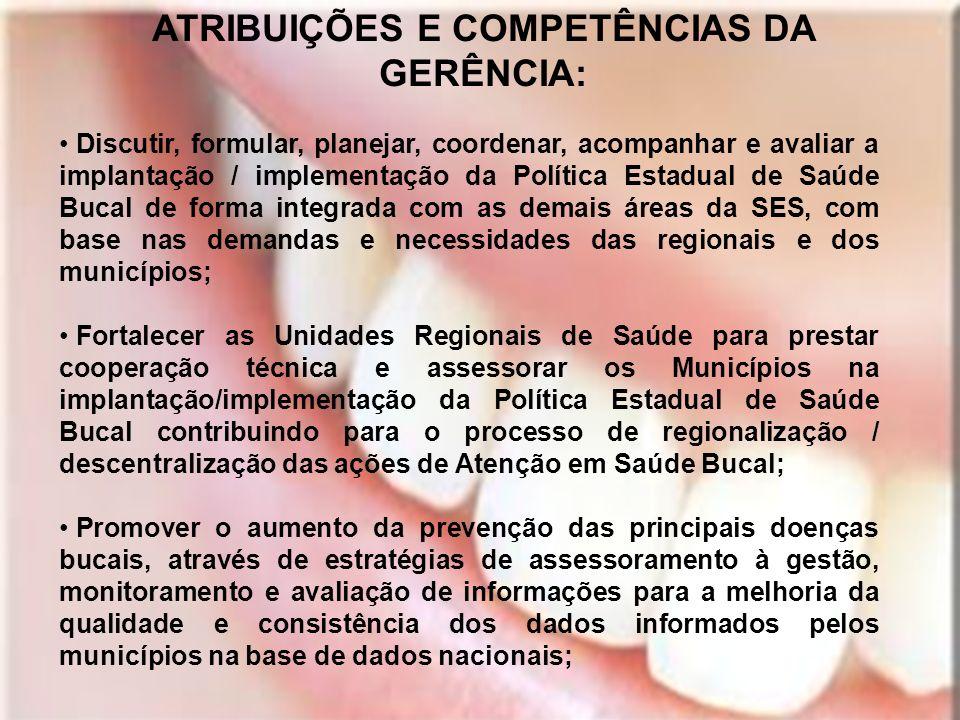 ATRIBUIÇÕES E COMPETÊNCIAS DA GERÊNCIA: Discutir, formular, planejar, coordenar, acompanhar e avaliar a implantação / implementação da Política Estadu