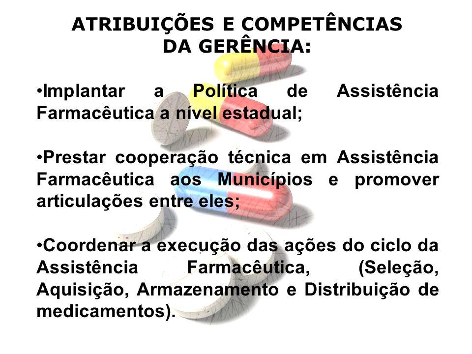 Implantar a Política de Assistência Farmacêutica a nível estadual; Prestar cooperação técnica em Assistência Farmacêutica aos Municípios e promover ar
