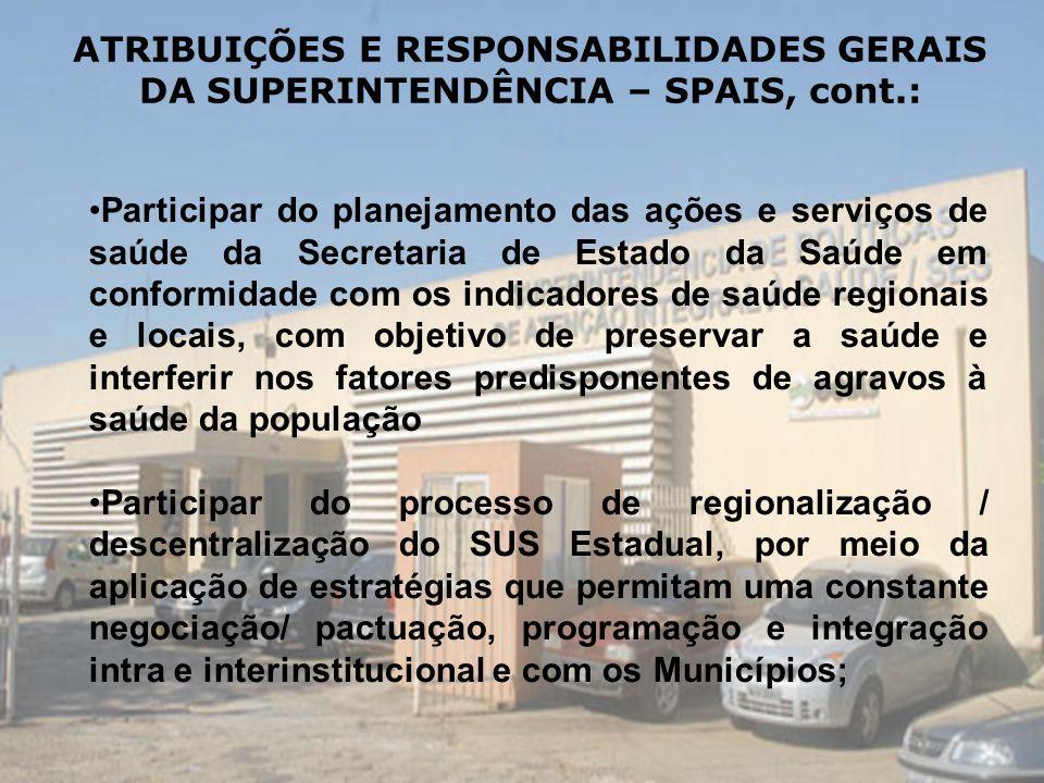 ATRIBUIÇÕES E RESPONSABILIDADES GERAIS DA SUPERINTENDÊNCIA – SPAIS, cont.: Participar do planejamento das ações e serviços de saúde da Secretaria de E