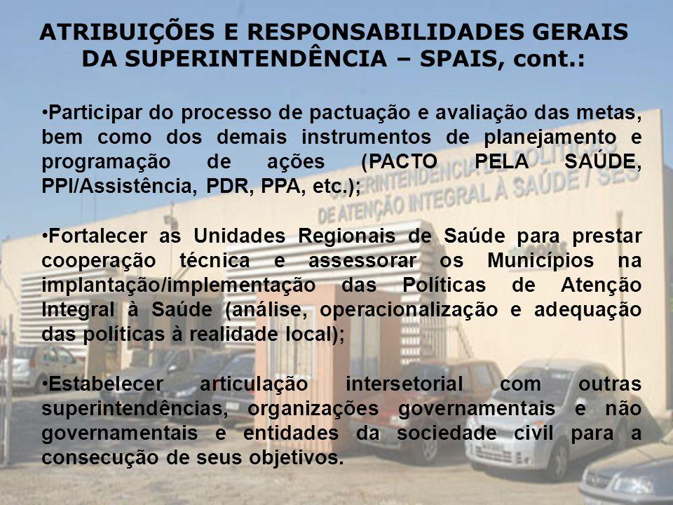 ATRIBUIÇÕES E RESPONSABILIDADES GERAIS DA SUPERINTENDÊNCIA – SPAIS, cont.: Participar do processo de pactuação e avaliação das metas, bem como dos dem