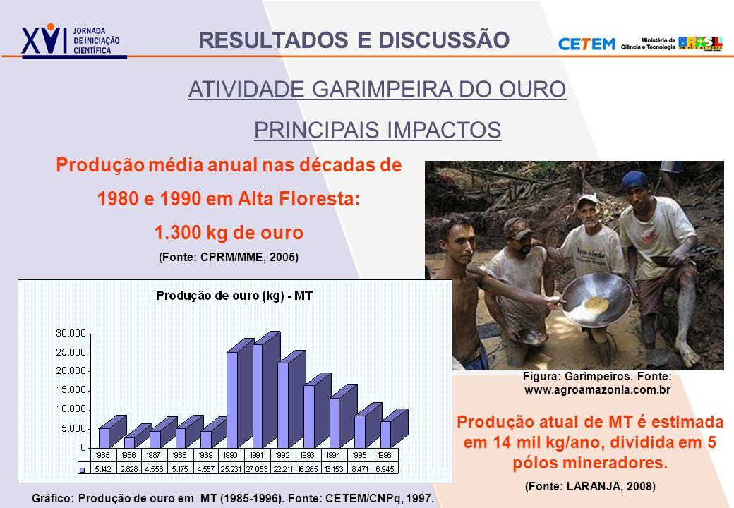 Figura: Garimpeiros. Fonte: www.agroamazonia.com.br ATIVIDADE GARIMPEIRA DO OURO PRINCIPAIS IMPACTOS Produção média anual nas décadas de 1980 e 1990 e