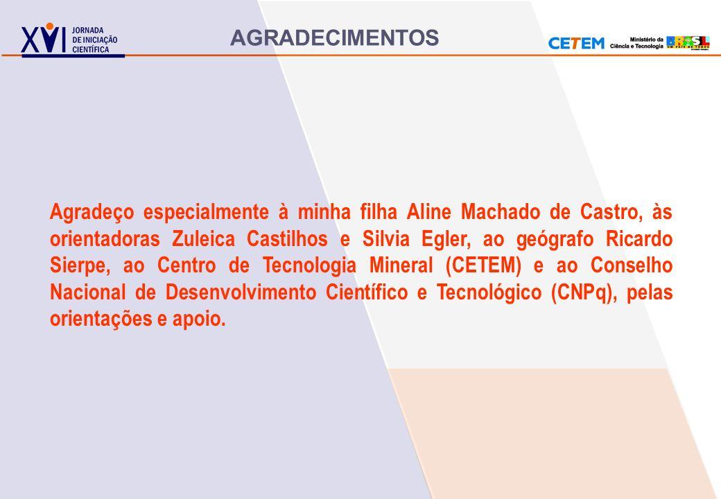 AGRADECIMENTOS Agradeço especialmente à minha filha Aline Machado de Castro, às orientadoras Zuleica Castilhos e Silvia Egler, ao geógrafo Ricardo Sie