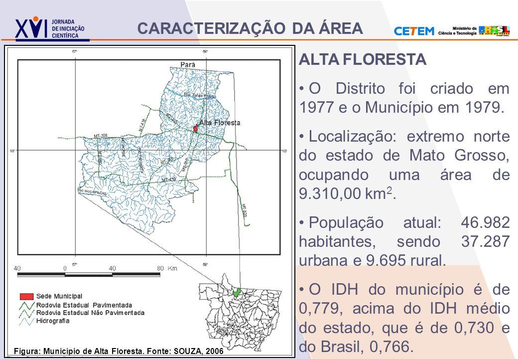 ALTA FLORESTA O Distrito foi criado em 1977 e o Município em 1979. Localização: extremo norte do estado de Mato Grosso, ocupando uma área de 9.310,00