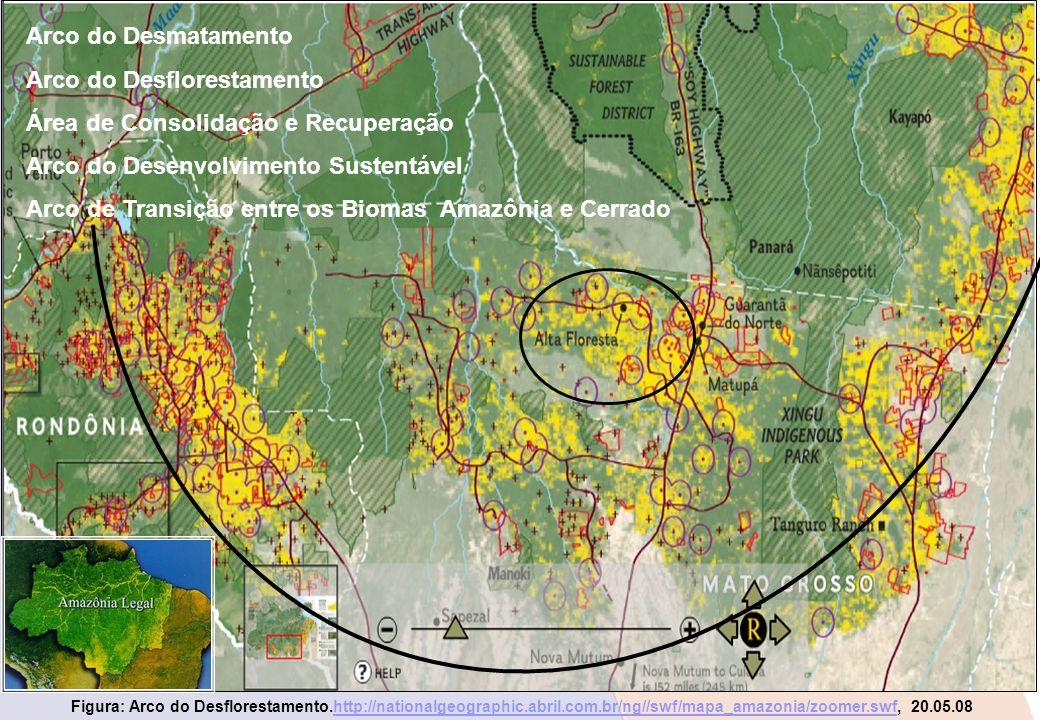 Figura: Arco do Desflorestamento.http://nationalgeographic.abril.com.br/ng//swf/mapa_amazonia/zoomer.swf, 20.05.08http://nationalgeographic.abril.com.
