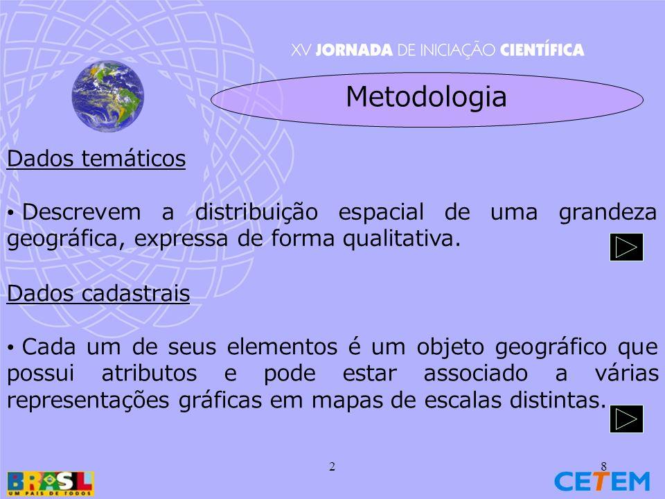 28 Dados temáticos Descrevem a distribuição espacial de uma grandeza geográfica, expressa de forma qualitativa.