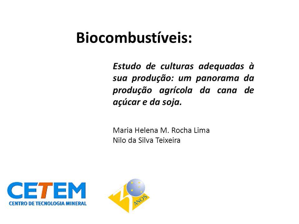 Biocombustíveis: Estudo de culturas adequadas à sua produção: um panorama da produção agrícola da cana de açúcar e da soja. Maria Helena M. Rocha Lima