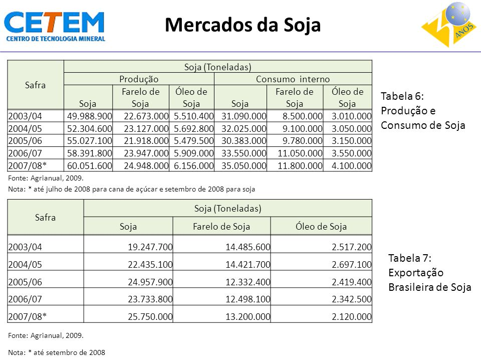 Safra Soja (Toneladas) SojaFarelo de SojaÓleo de Soja 2003/0419.247.70014.485.6002.517.200 2004/0522.435.10014.421.7002.697.100 2005/0624.957.90012.33