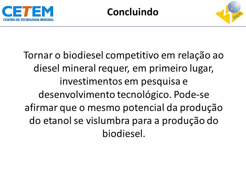 Tornar o biodiesel competitivo em relação ao diesel mineral requer, em primeiro lugar, investimentos em pesquisa e desenvolvimento tecnológico. Pode-s