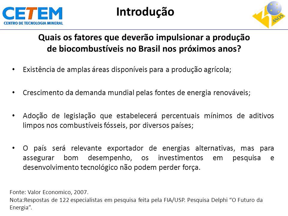 Quais os fatores que deverão impulsionar a produção de biocombustíveis no Brasil nos próximos anos? Existência de amplas áreas disponíveis para a prod