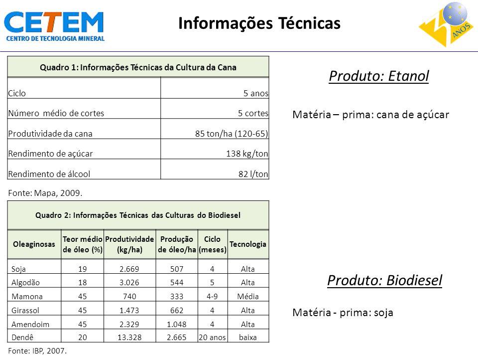 Quadro 2: Informações Técnicas das Culturas do Biodiesel Oleaginosas Teor médio de óleo (%) Produtividade (kg/ha) Produção de óleo/ha Ciclo (meses) Te