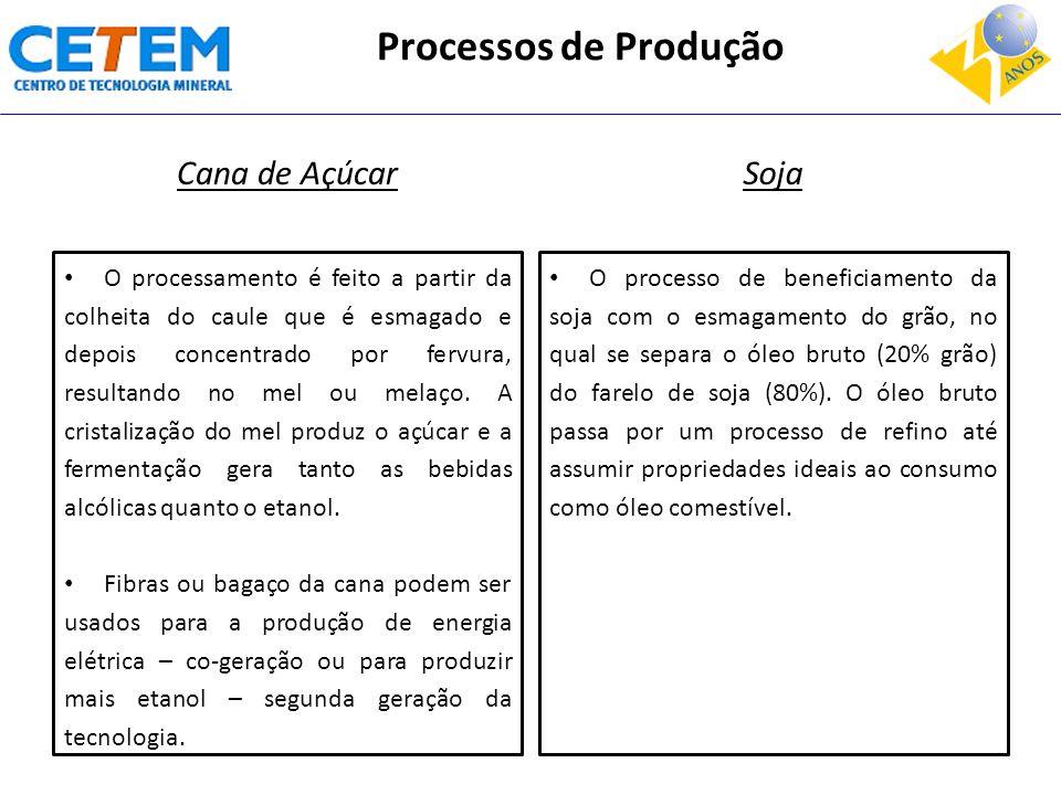 Processos de Produção Cana de Açúcar O processamento é feito a partir da colheita do caule que é esmagado e depois concentrado por fervura, resultando no mel ou melaço.