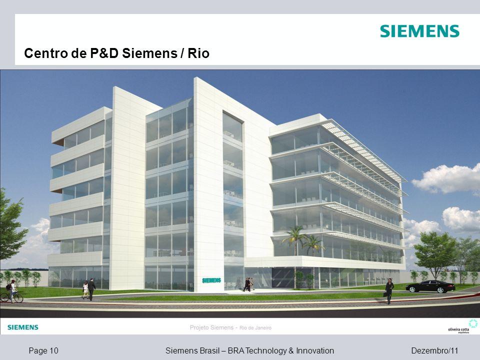 Page 10 Siemens Brasil – BRA Technology & Innovation Dezembro/11 Centro de P&D Siemens / Rio