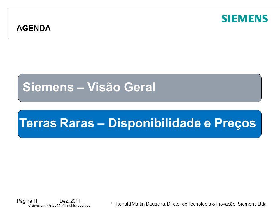 Ronald Martin Dauscha, Diretor de Tecnologia & Inovação, Siemens Ltda. © Siemens AG 2011. All rights reserved. Página 11Dez. 2011, AGENDA Siemens – Vi