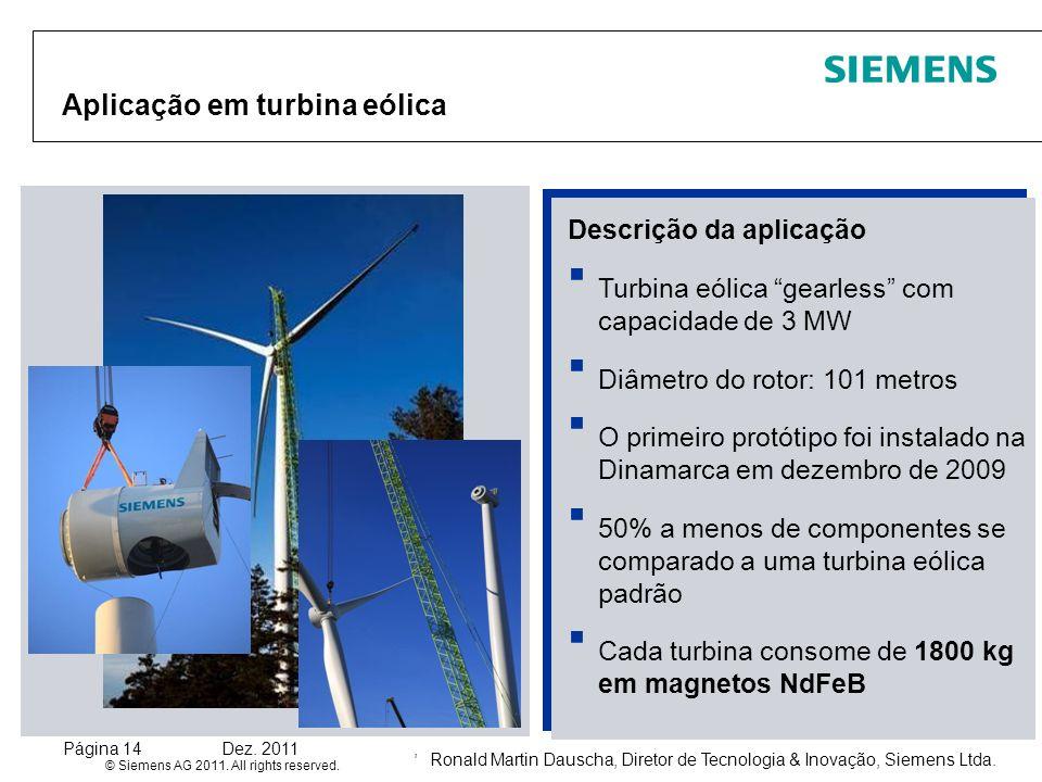 Ronald Martin Dauscha, Diretor de Tecnologia & Inovação, Siemens Ltda. © Siemens AG 2011. All rights reserved. Página 14Dez. 2011, Aplicação em turbin
