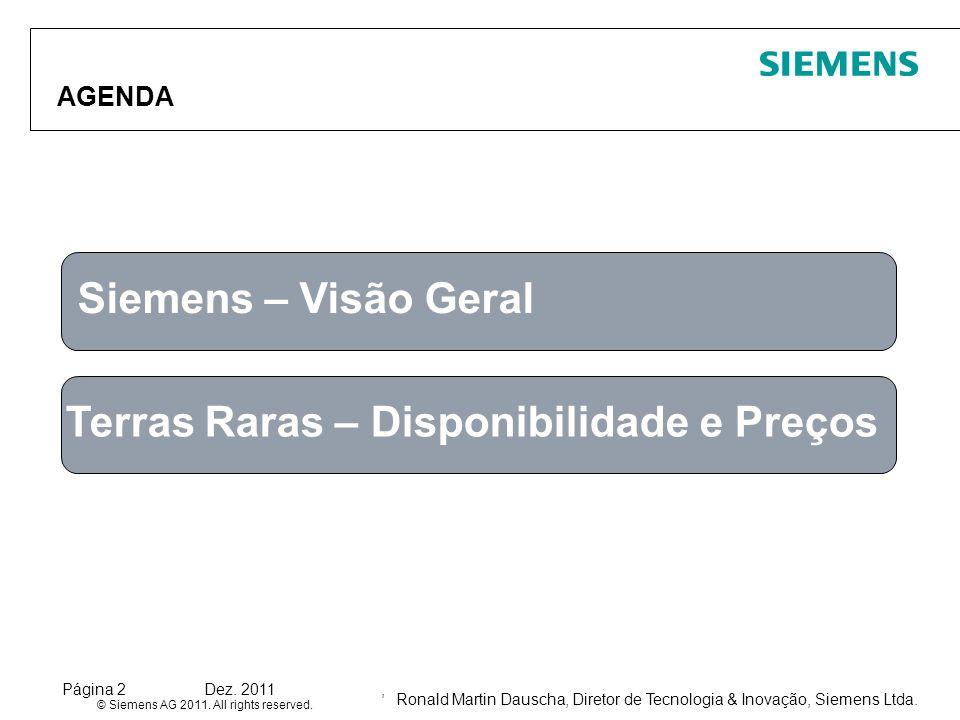 Ronald Martin Dauscha, Diretor de Tecnologia & Inovação, Siemens Ltda. © Siemens AG 2011. All rights reserved. Página 2Dez. 2011, AGENDA Siemens – Vis