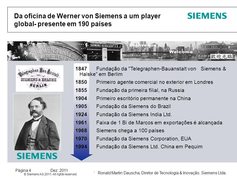 Ronald Martin Dauscha, Diretor de Tecnologia & Inovação, Siemens Ltda. © Siemens AG 2011. All rights reserved. Página 4Dez. 2011, Da oficina de Werner