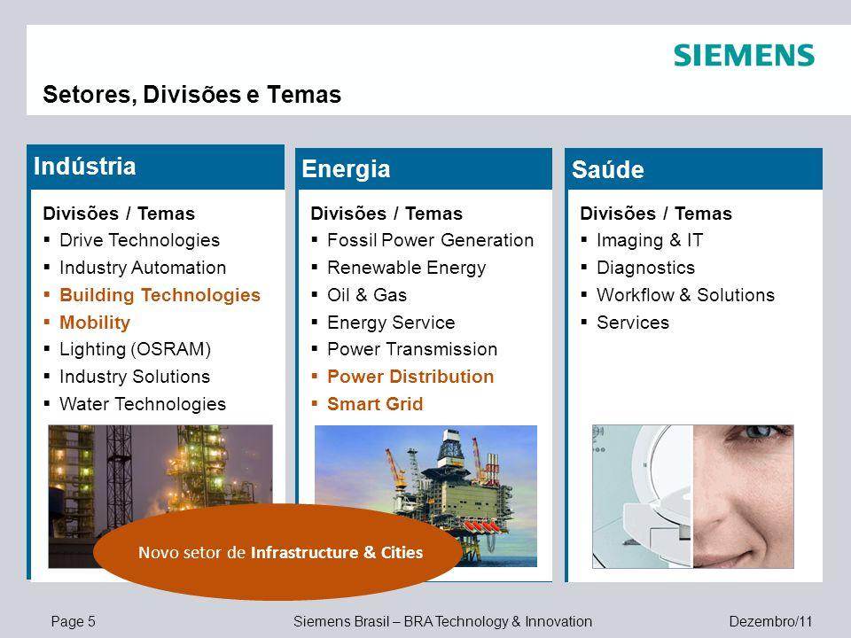 Page 5 Siemens Brasil – BRA Technology & Innovation Dezembro/11 Setores, Divisões e Temas Indústria Divisões / Temas Drive Technologies Industry Autom