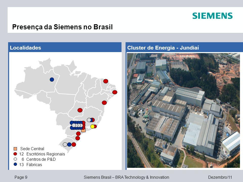 Page 9 Siemens Brasil – BRA Technology & Innovation Dezembro/11 Cluster de Energia - JundiaíLocalidades Presença da Siemens no Brasil Sede Central 12