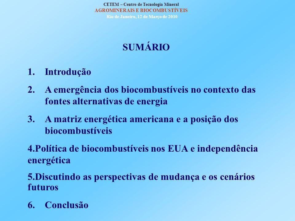 Biocombustíveis nos Estados Unidos em contexto de mudança CETEM – Centro de Tecnologia Mineral Ministério da Ciência e Tecnologia AGROMINERAIS E BIOCO