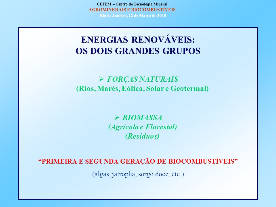 ENVOLVENTE HISTÓRICA DA EMERGÊNCIA DOS BIOCOMBUSTÍVEIS O modelo energético mundial no pós-guerra Mudanças favoráveis à alteração do modelo na primeira