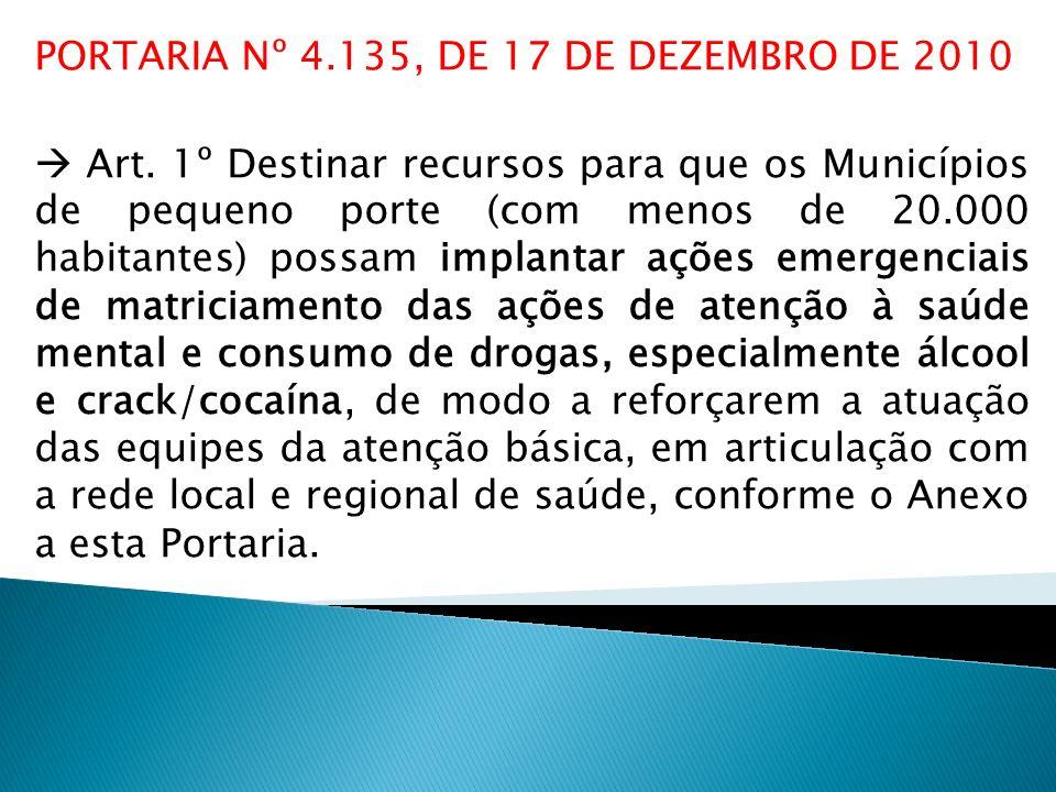 PORTARIA Nº 4.135, DE 17 DE DEZEMBRO DE 2010 Art. 1º Destinar recursos para que os Municípios de pequeno porte (com menos de 20.000 habitantes) possam