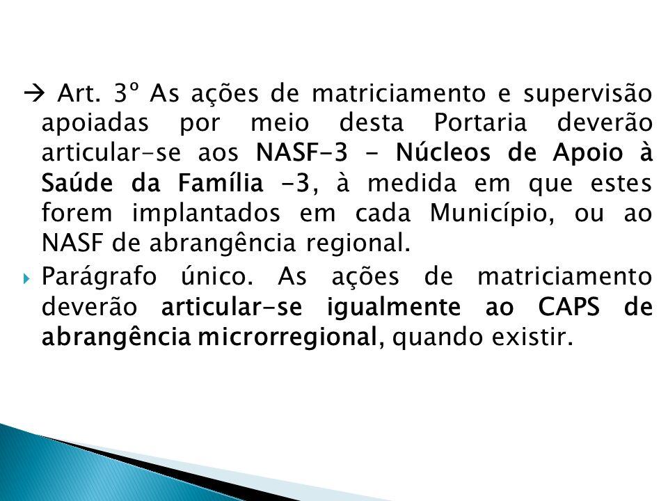 Art. 3º As ações de matriciamento e supervisão apoiadas por meio desta Portaria deverão articular-se aos NASF-3 - Núcleos de Apoio à Saúde da Família