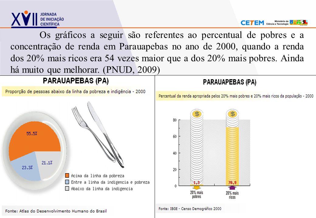 Os gráficos a seguir são referentes ao percentual de pobres e a concentração de renda em Parauapebas no ano de 2000, quando a renda dos 20% mais ricos