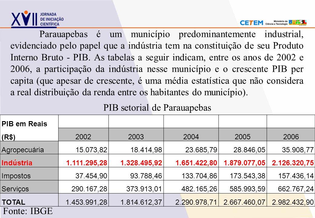 Parauapebas é um município predominantemente industrial, evidenciado pelo papel que a indústria tem na constituição de seu Produto Interno Bruto - PIB