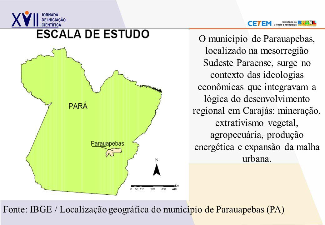 Fonte: IBGE / Localização geográfica do município de Parauapebas (PA) O município de Parauapebas, localizado na mesorregião Sudeste Paraense, surge no