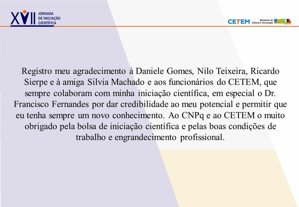 Registro meu agradecimento à Daniele Gomes, Nilo Teixeira, Ricardo Sierpe e à amiga Silvia Machado e aos funcionários do CETEM, que sempre colaboram c