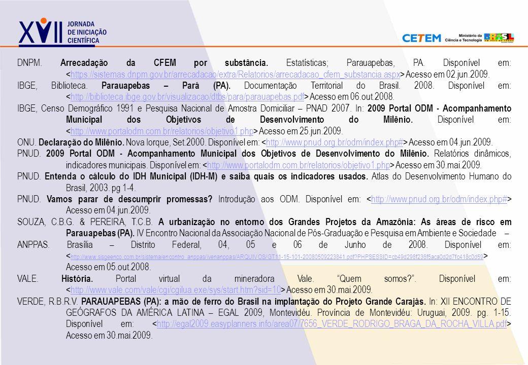 DNPM. Arrecadação da CFEM por substância. Estatísticas; Parauapebas, PA. Disponível em: Acesso em 02.jun.2009.https://sistemas.dnpm.gov.br/arrecadacao