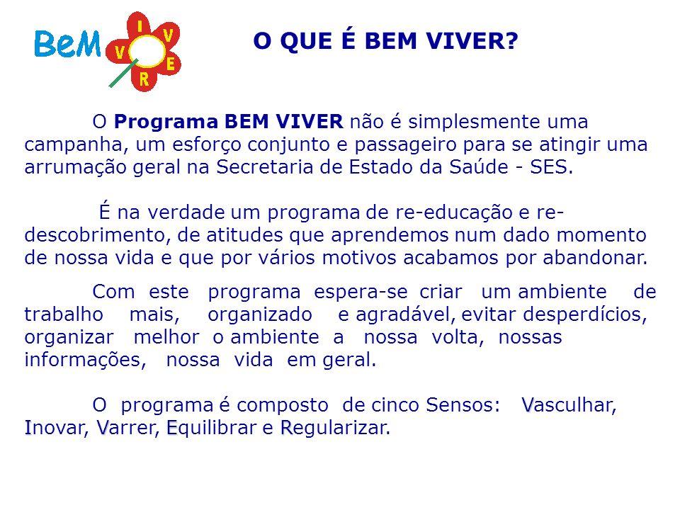 O Programa BEM VIVER não é simplesmente uma campanha, um esforço conjunto e passageiro para se atingir uma arrumação geral na Secretaria de Estado da