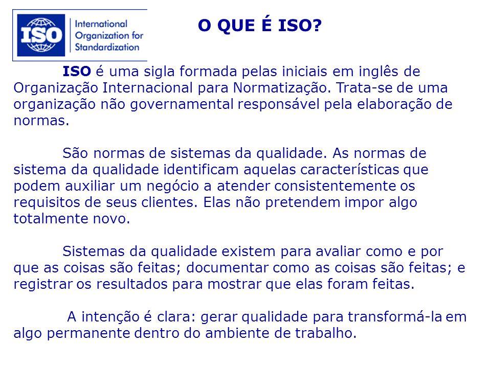 ISO é uma sigla formada pelas iniciais em inglês de Organização Internacional para Normatização. Trata-se de uma organização não governamental respons