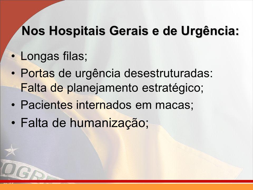 Nos Hospitais Gerais e de Urgência: Longas filas; Portas de urgência desestruturadas: Falta de planejamento estratégico; Pacientes internados em macas; Falta de humanização;
