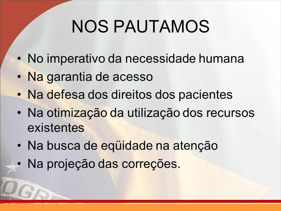 NOS PAUTAMOS No imperativo da necessidade humana Na garantia de acesso Na defesa dos direitos dos pacientes Na otimização da utilização dos recursos existentes Na busca de eqüidade na atenção Na projeção das correções.