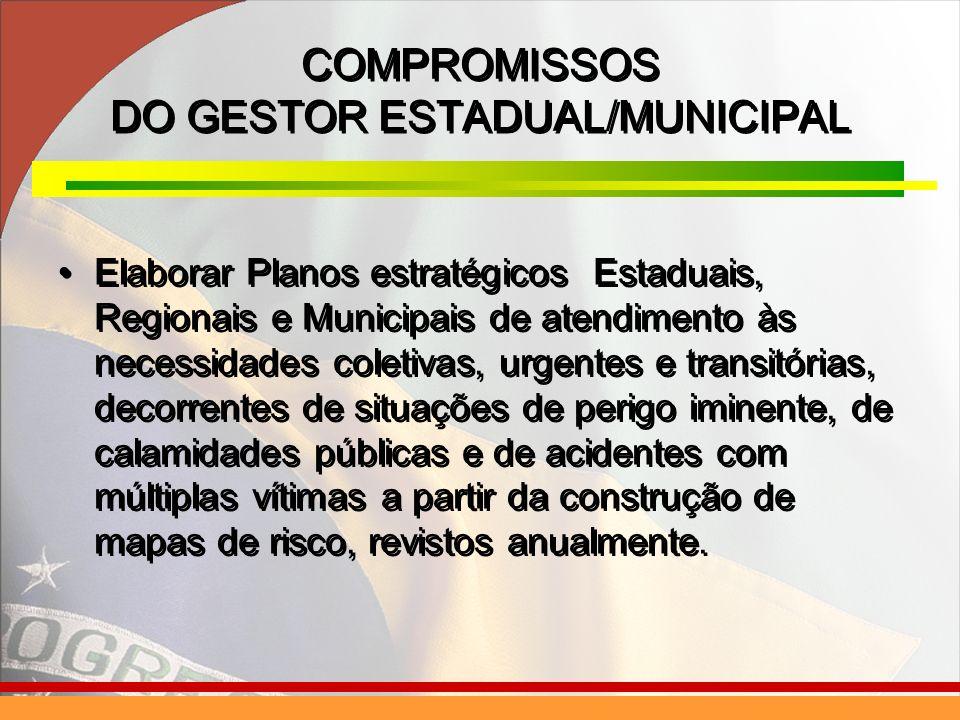 Elaborar Planos estratégicos Estaduais, Regionais e Municipais de atendimento às necessidades coletivas, urgentes e transitórias, decorrentes de situa