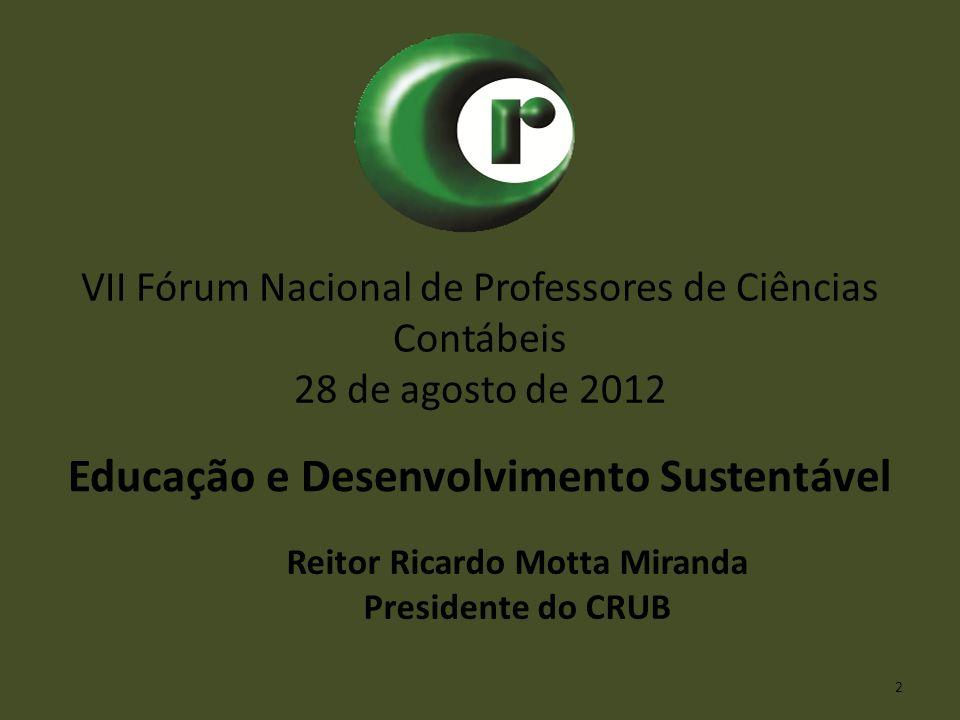 VII Fórum Nacional de Professores de Ciências Contábeis 28 de agosto de 2012 Educação e Desenvolvimento Sustentável Reitor Ricardo Motta Miranda Presi