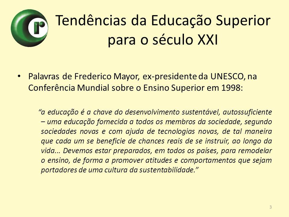 Tendências da Educação Superior para o século XXI Palavras de Frederico Mayor, ex-presidente da UNESCO, na Conferência Mundial sobre o Ensino Superior